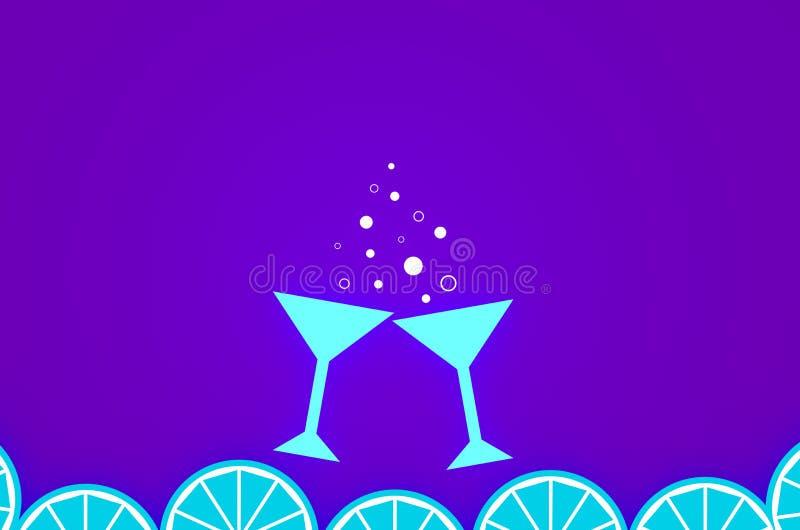 鸡尾酒和切片的两杯橙色氖3D例证 库存照片
