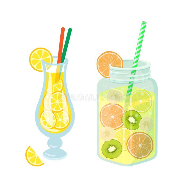 鸡尾酒和柠檬水在瓶子,Detoxing喝 库存例证