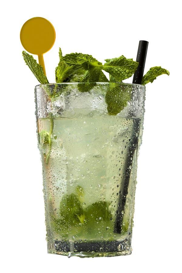 鸡尾酒在白色背景隔绝的Mojito 免版税库存图片