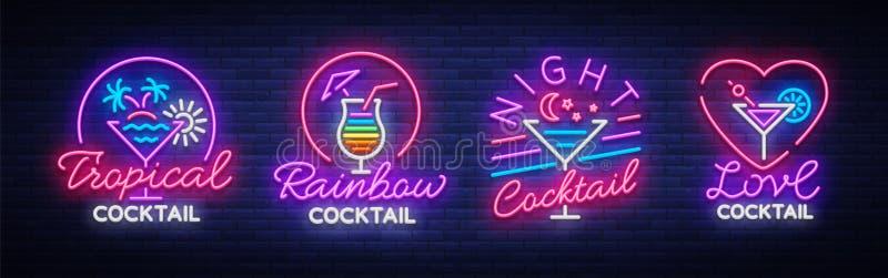 鸡尾酒在霓虹样式的汇集商标 霓虹灯广告的汇集,在饮料题材,酒客的设计模板 库存例证