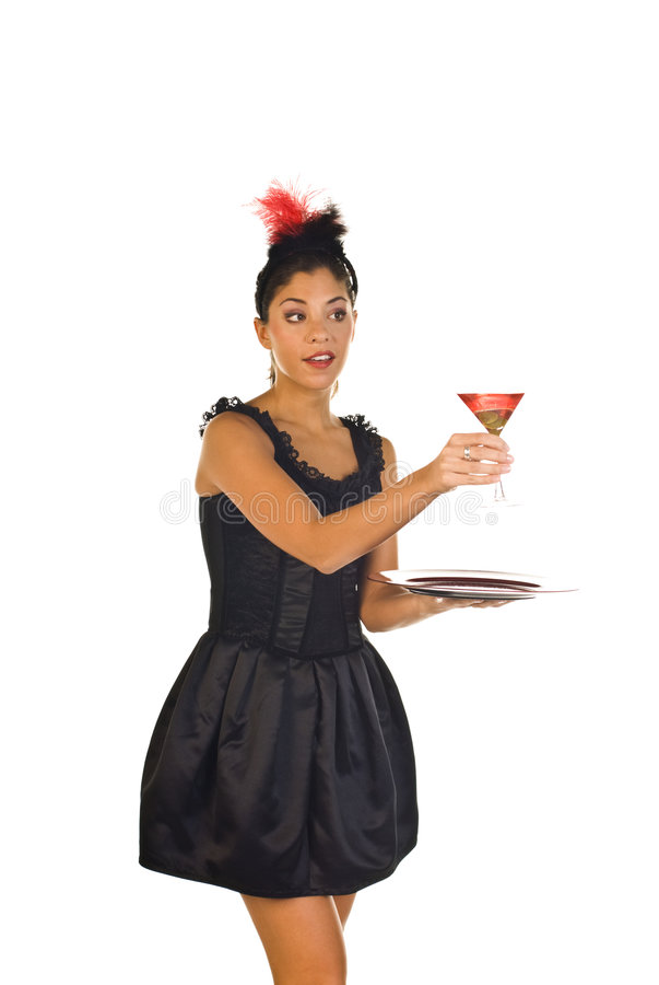 鸡尾酒女服务员 免版税库存图片