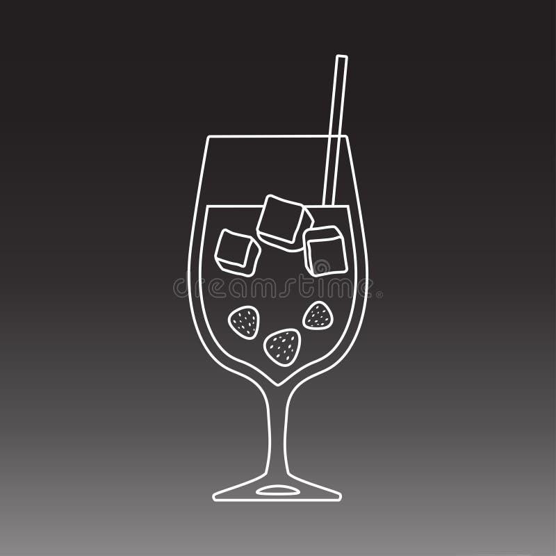 鸡尾酒杯在黑暗的背景的线艺术设计 向量例证