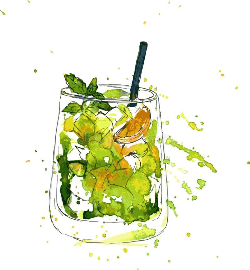 鸡尾酒杯用薄菏和桔子 库存例证