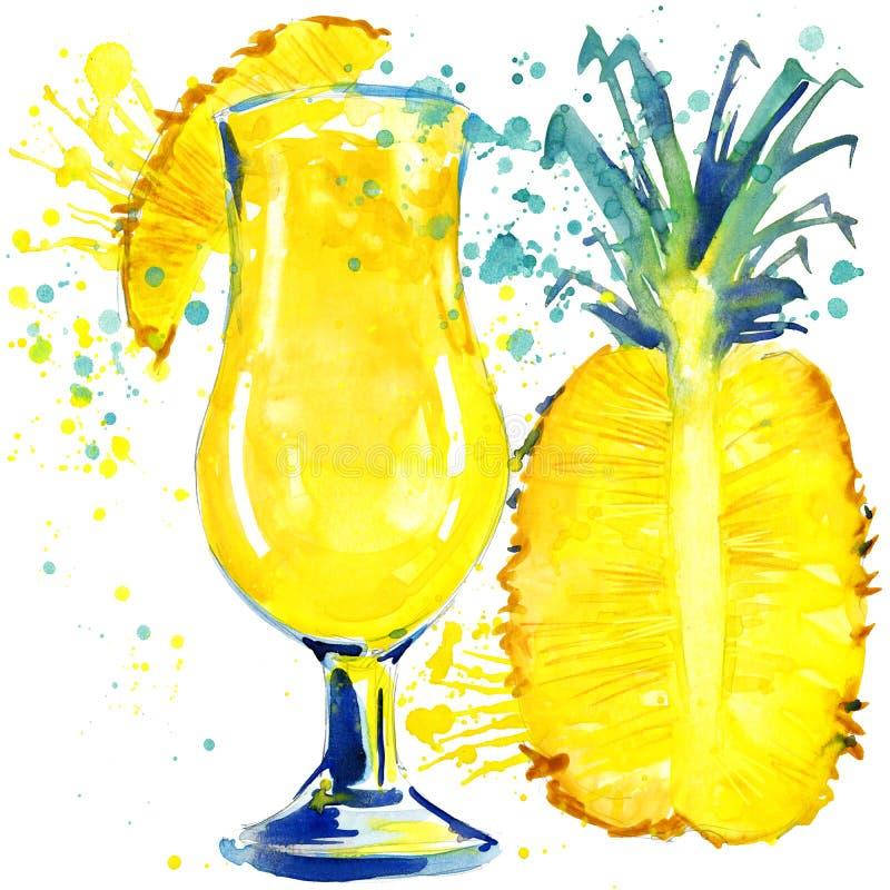 鸡尾酒果子、冰和飞溅 手拉的水彩例证 皇族释放例证