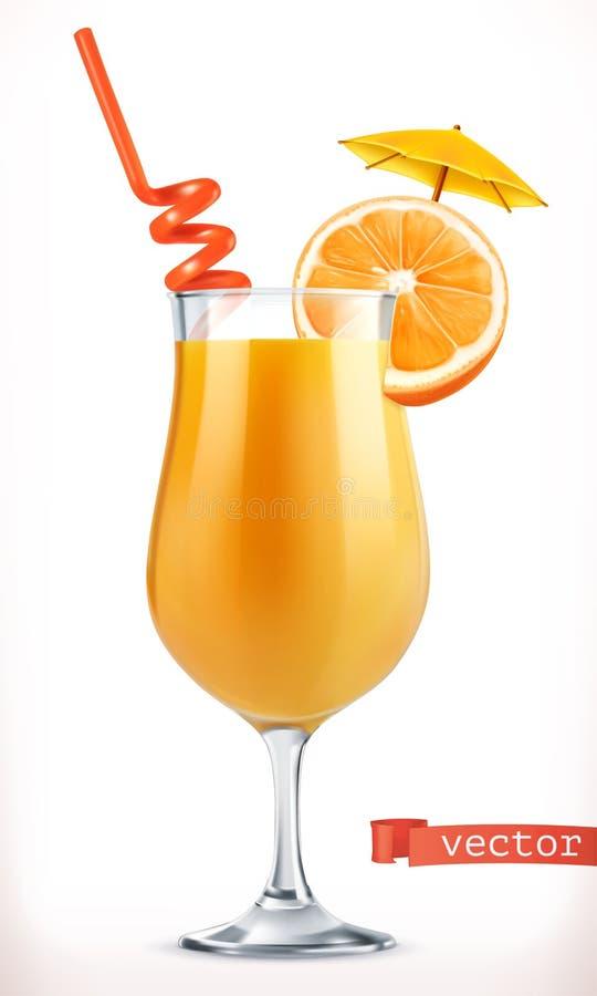鸡尾酒桔子 果汁 3d图标向量 皇族释放例证