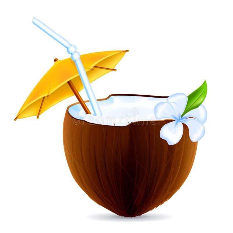 鸡尾酒椰子 库存例证