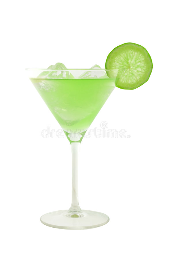 鸡尾酒求绿色冰石灰片式的立方 免版税图库摄影