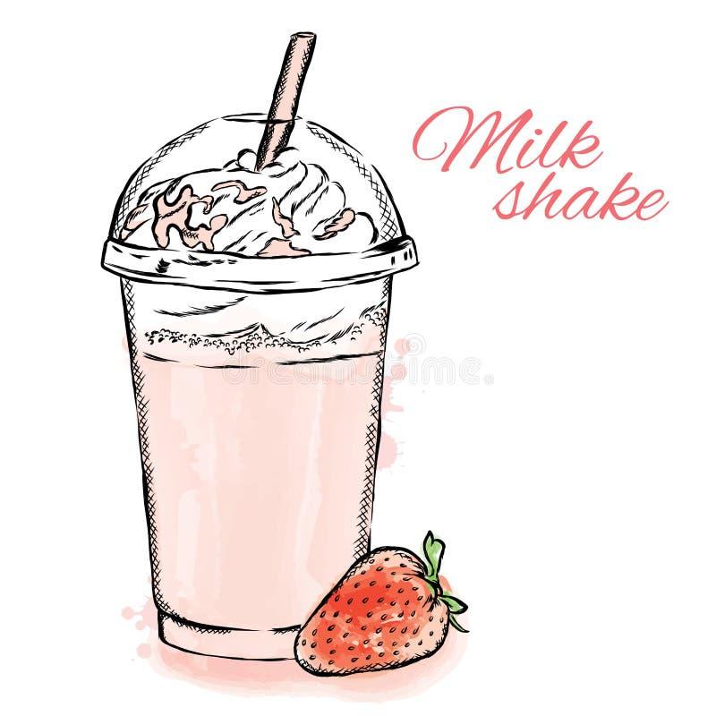 鸡尾酒牛奶店隔离白色 卡片或海报的传染媒介例证 夏天图画 葡萄酒和水彩 皇族释放例证