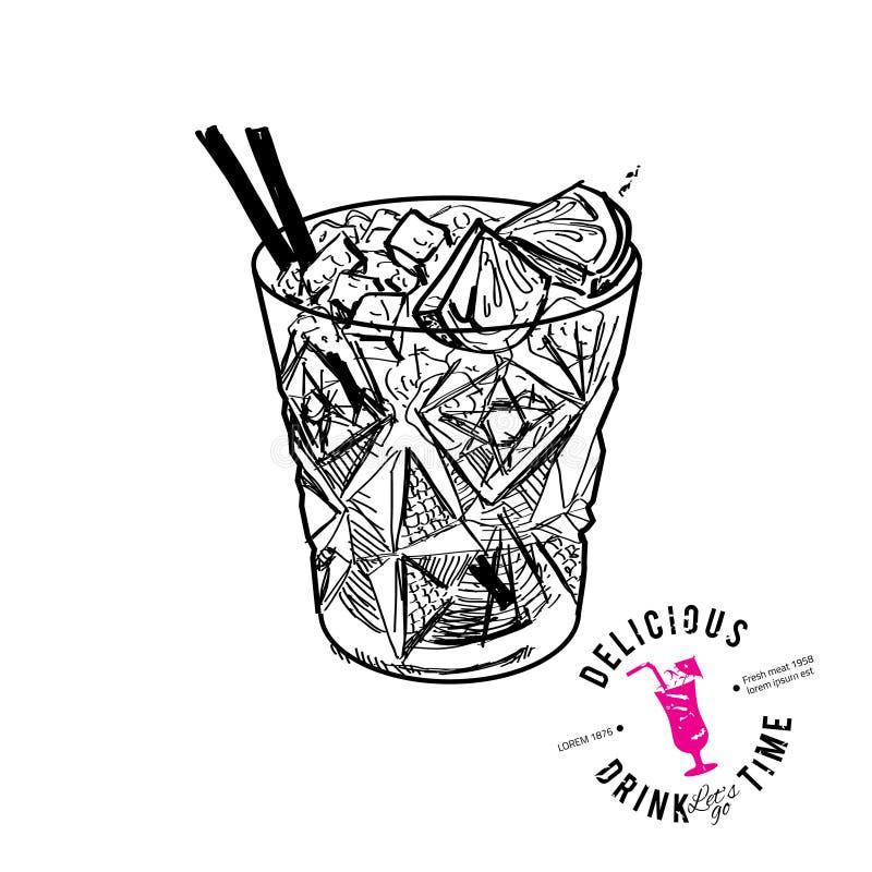 鸡尾酒用被隔绝的可乐和石灰 向量例证