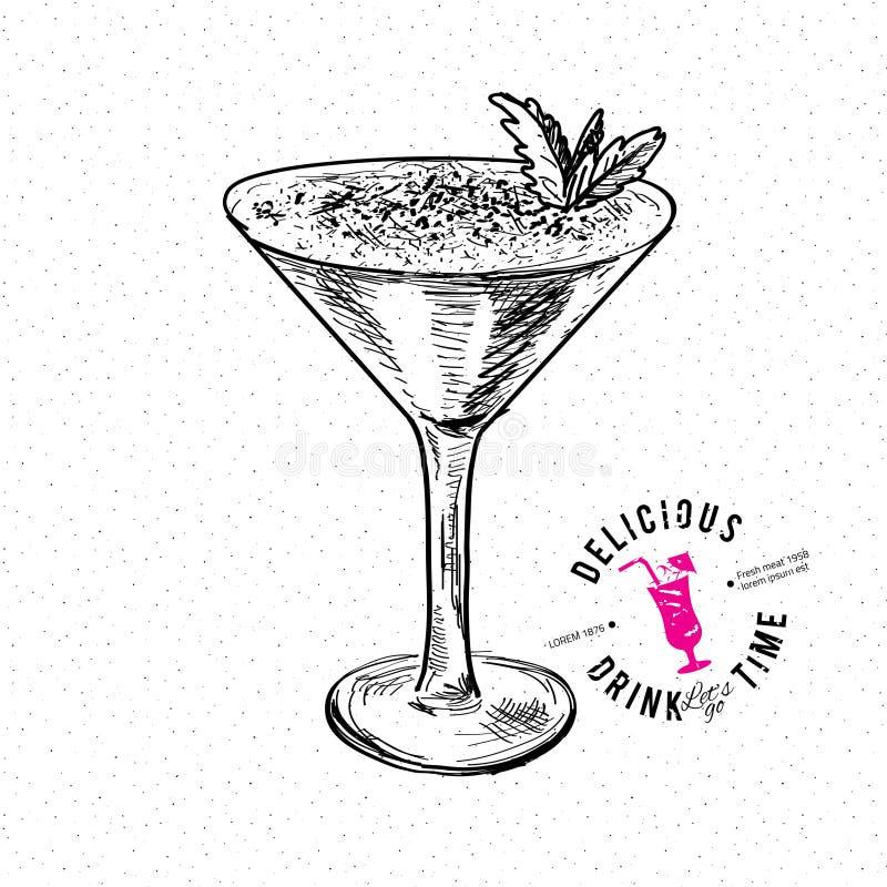 鸡尾酒的手拉的例证 向量例证