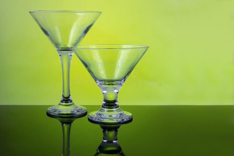 鸡尾酒空的玻璃 免版税库存图片