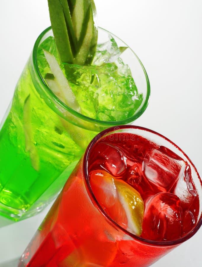 鸡尾酒绿色红色 免版税图库摄影