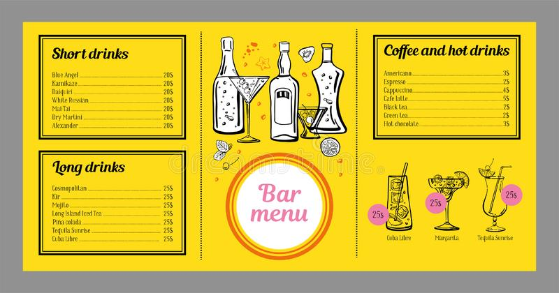 鸡尾酒菜单与饮料、咖啡和图表名单的设计模板与鸡尾酒和瓶 库存例证