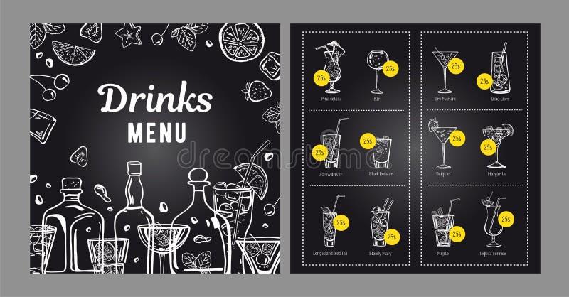 鸡尾酒菜单设计模板 与瓶和鸡尾酒的传染媒介概述手拉的例证在黑板 向量例证