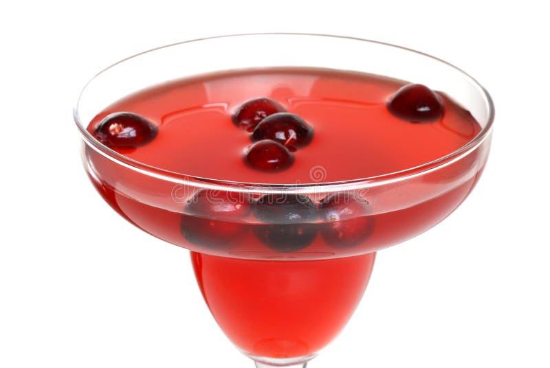 鸡尾酒蔓越桔重点前面玻璃打孔机外&# 库存照片
