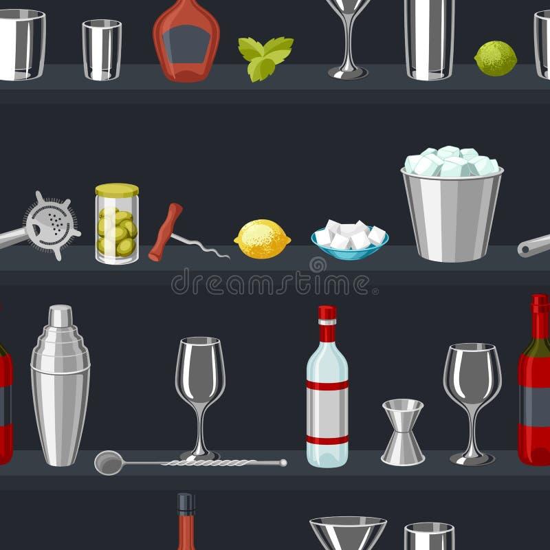 鸡尾酒酒吧无缝的样式 根本工具,玻璃器皿,搅拌器和装饰 皇族释放例证