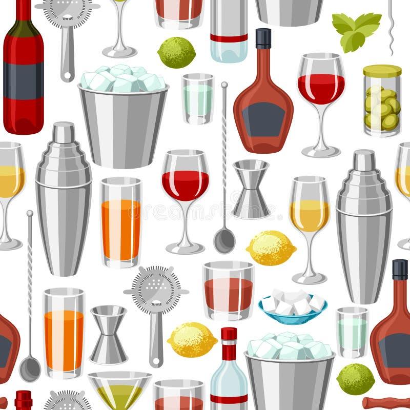 鸡尾酒酒吧无缝的样式 根本工具,玻璃器皿,搅拌器和装饰 向量例证