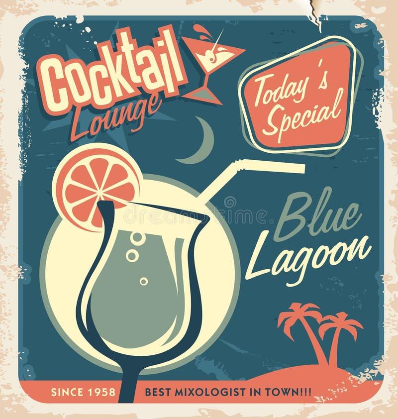 鸡尾酒酒吧的增进减速火箭的海报设计 库存例证