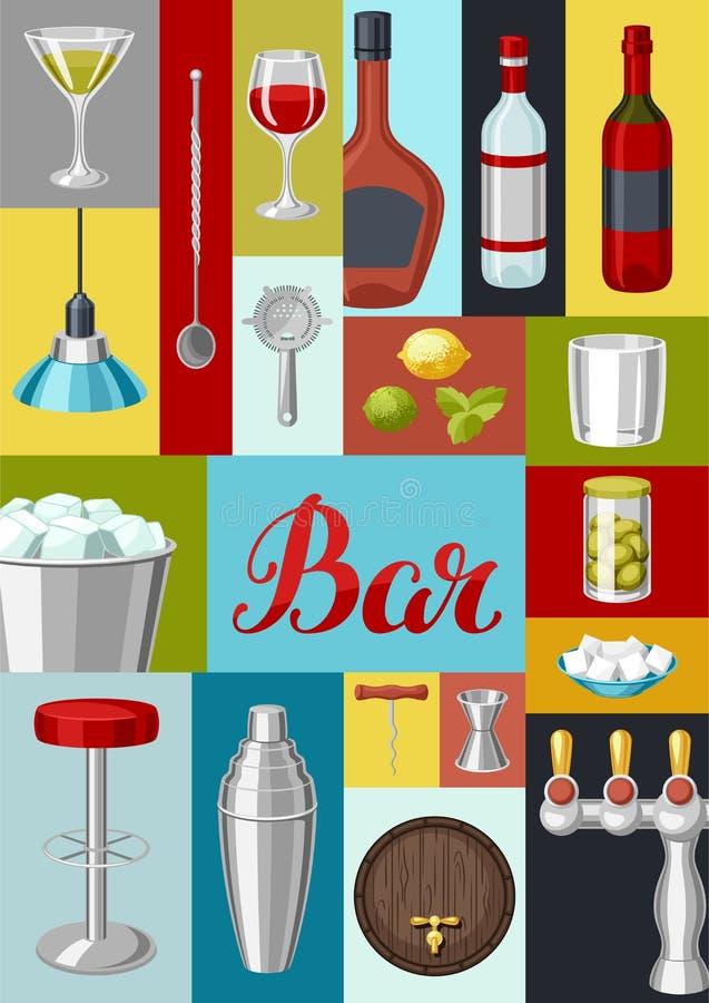 鸡尾酒酒吧背景 根本工具,玻璃器皿,搅拌器和装饰 向量例证