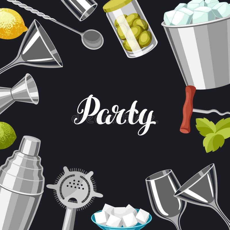 鸡尾酒酒吧背景 根本工具,玻璃器皿,搅拌器和装饰 库存例证