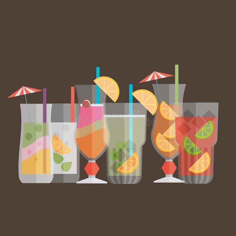 鸡尾酒饮料在平的设计样式的果汁 减速火箭的样式hol 皇族释放例证