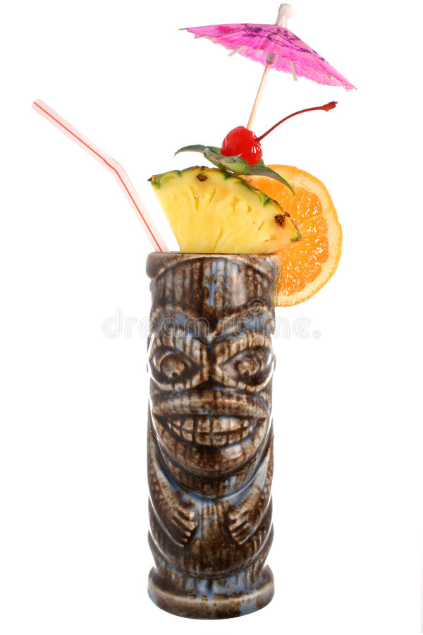 鸡尾酒饮料热带果子的tiki 免版税库存图片