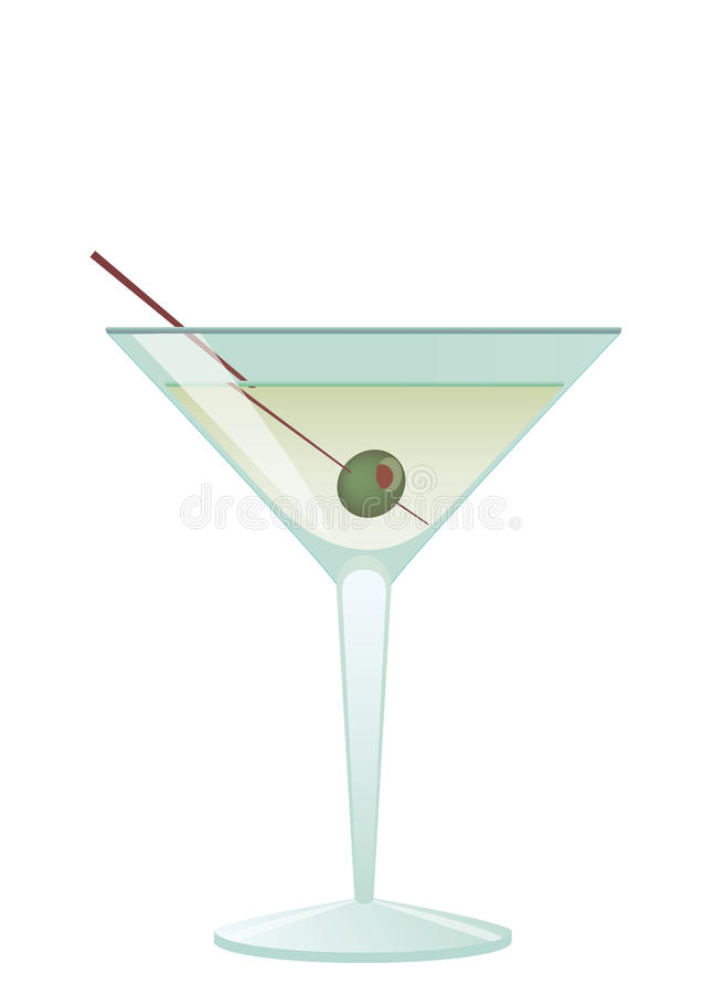 鸡尾酒马蒂尼鸡尾酒橄榄 向量例证