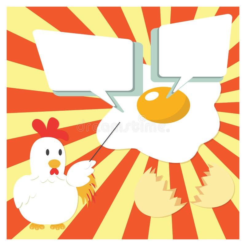 鸡提出用煎蛋的漫画人物 皇族释放例证