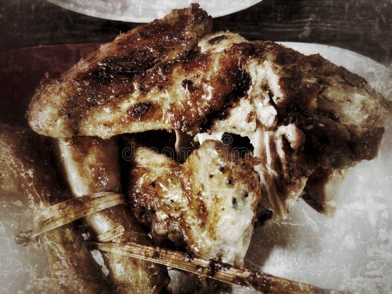 鸡格栅叶子鲜美烘烤的沙拉 库存图片