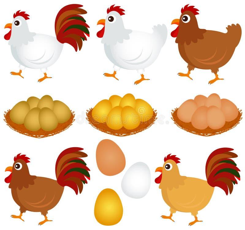 鸡母鸡图标雄鸡向量 向量例证