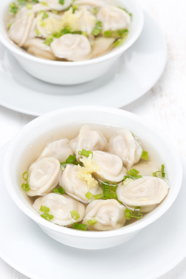 鸡汤用中国饺子,顶视图 库存照片