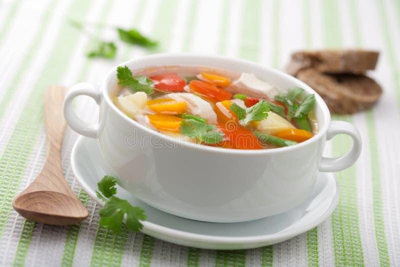 鸡汤蔬菜 免版税库存照片