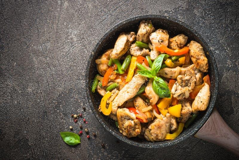 鸡油煎与菜 库存图片