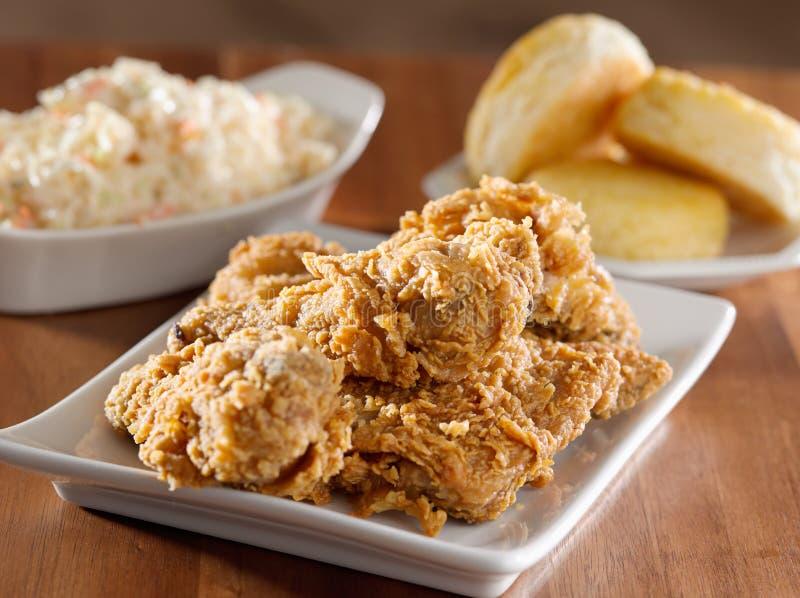 鸡油煎的膳食 图库摄影