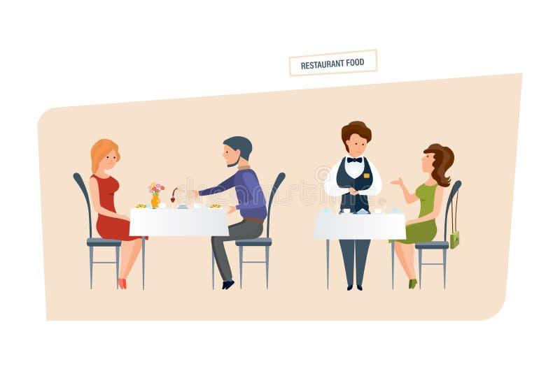 鸡油煎的行程 人们在餐馆吃并且做命令 皇族释放例证