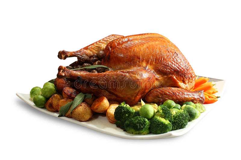 鸡烤全部 免版税库存图片