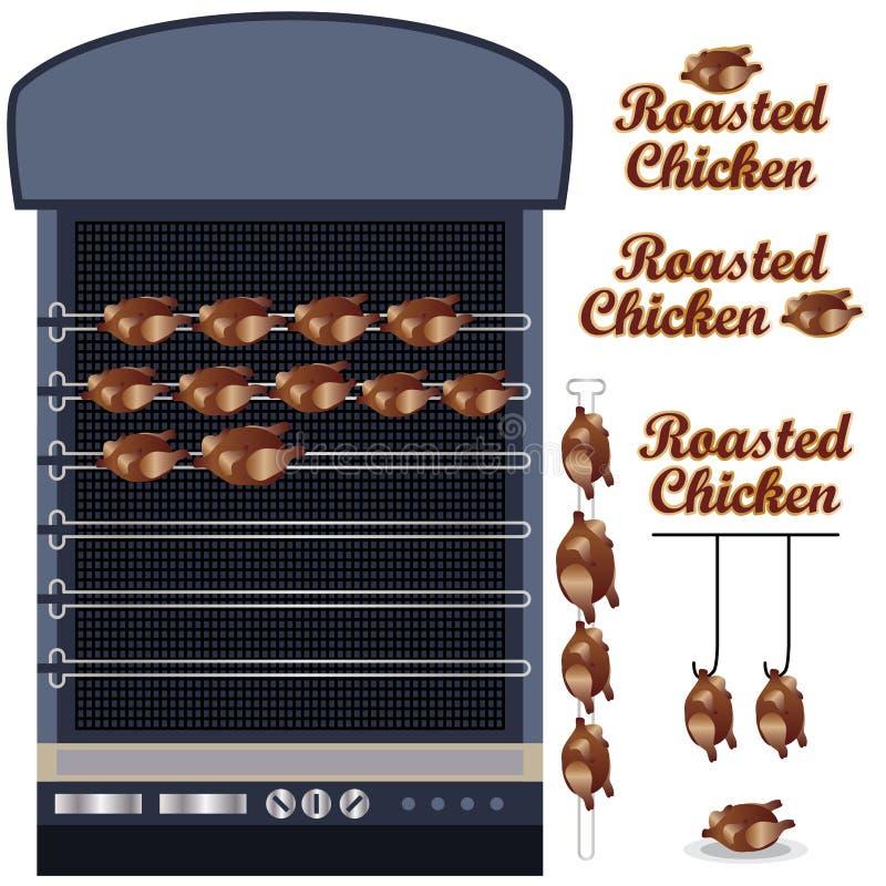 鸡烤现代 向量例证