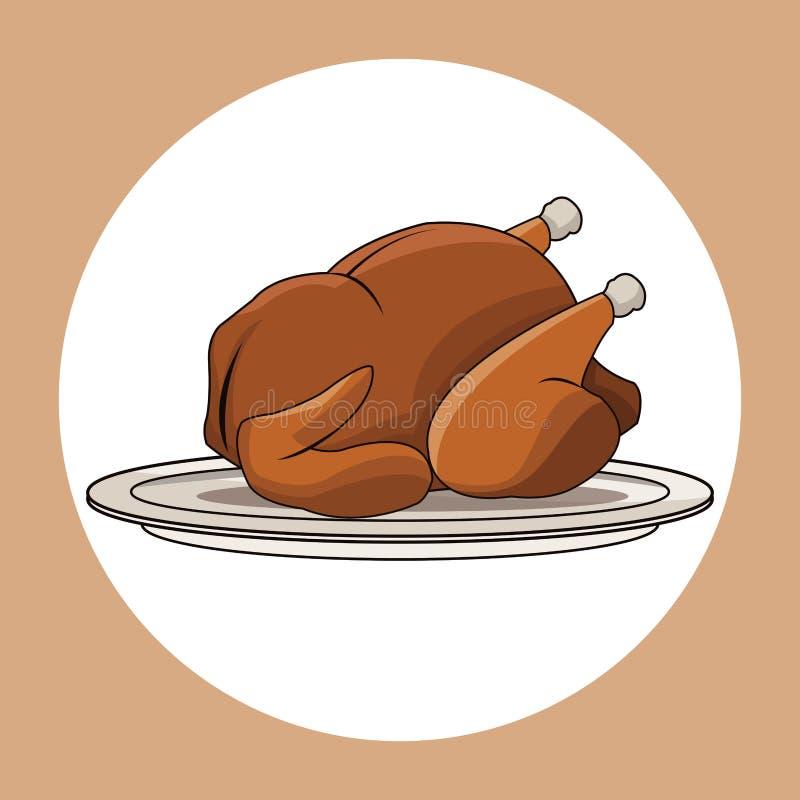 鸡烤食物图象 向量例证