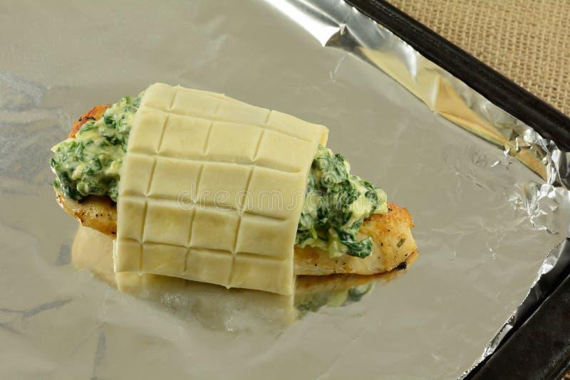 鸡用菠菜和乳酪调味料 免版税库存图片