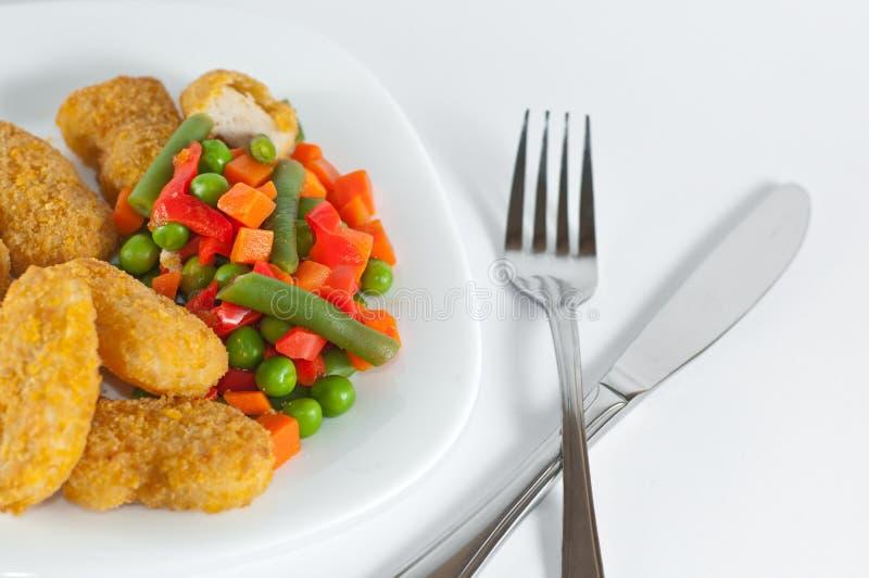鸡肉菜肴端 免版税库存图片