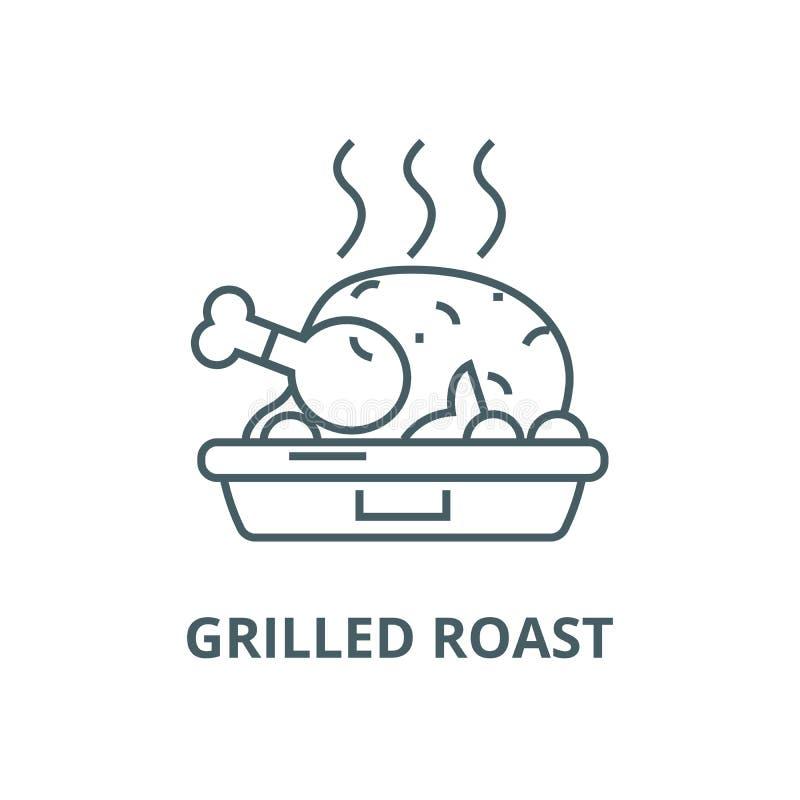 鸡肉菜肴,烤烘烤线象,传染媒介 鸡肉菜肴,烤烘烤概述标志,概念标志,平的例证 向量例证
