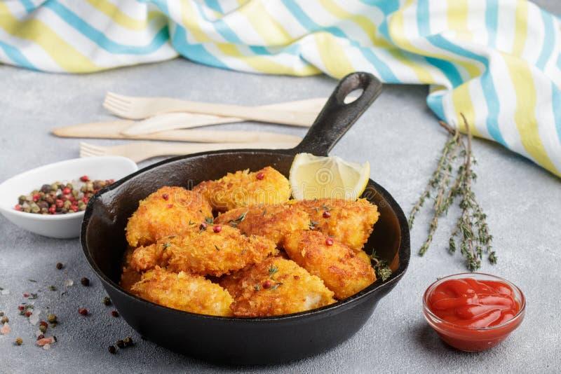 鸡胸脯油煎的矿块用番茄酱和香料 库存照片