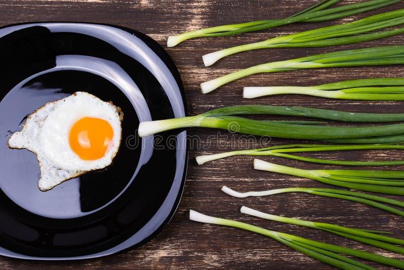 鸡蛋、香葱和板材 免版税库存照片