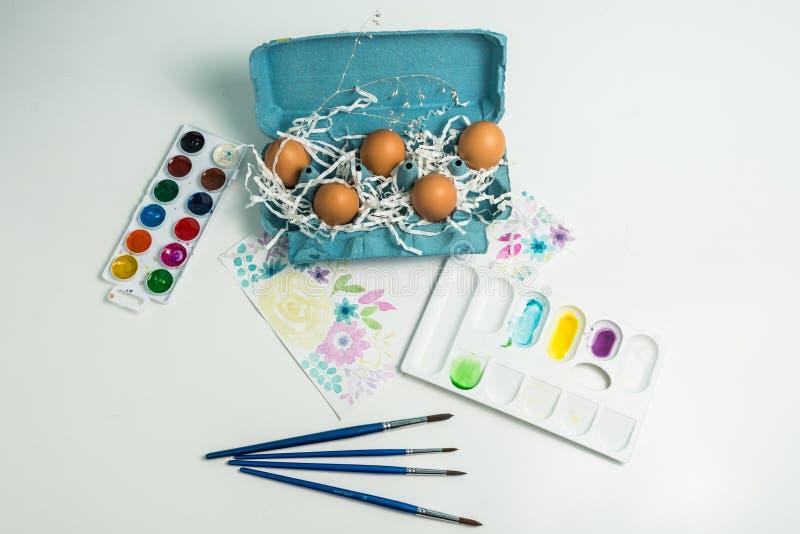 鸡蛋准备为复活节被绘 免版税库存照片