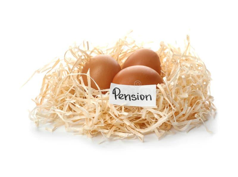 鸡蛋和卡片与词退休金在巢 免版税库存照片
