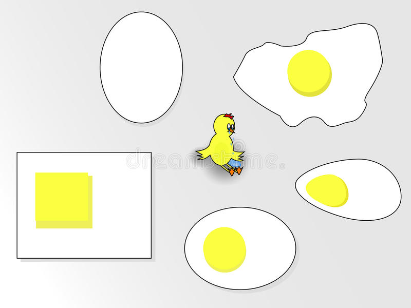 鸡蛋和哭泣的鸡 库存照片