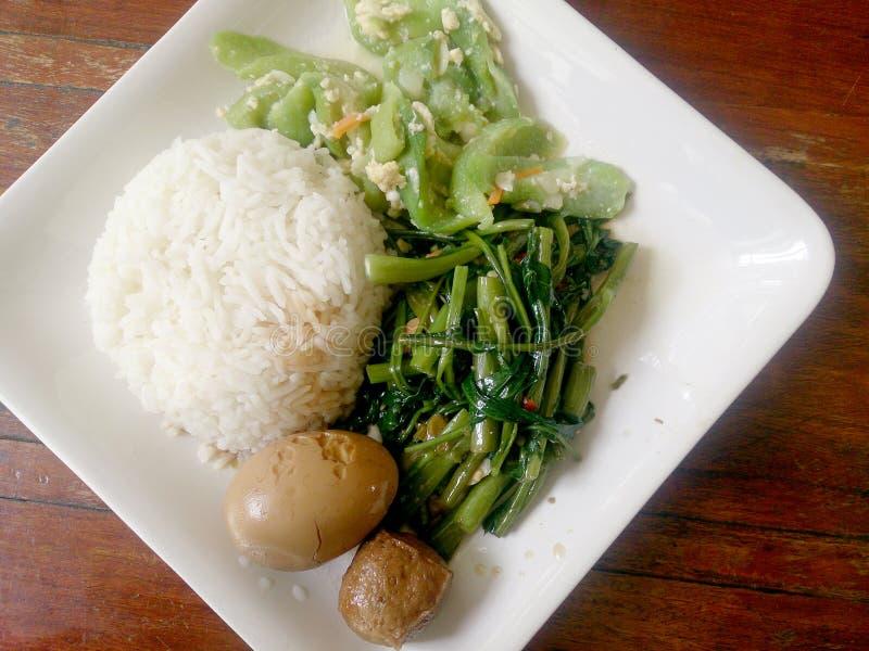 鸡蛋和猪肉在棕色沙司青蛙,混乱油煎的沼泽圆白菜和混乱油煎了夏南瓜用鸡蛋用米 泰国的食物 库存图片