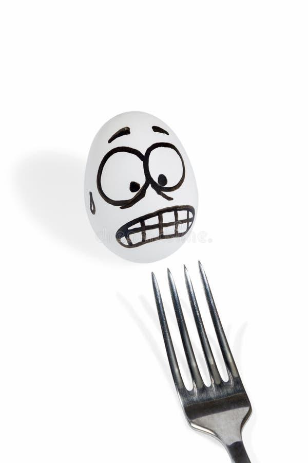 鸡蛋害怕的叉子 库存照片