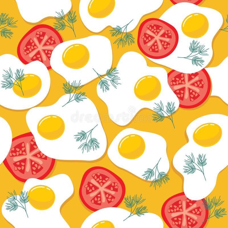 鸡蛋油煎的模式 库存例证