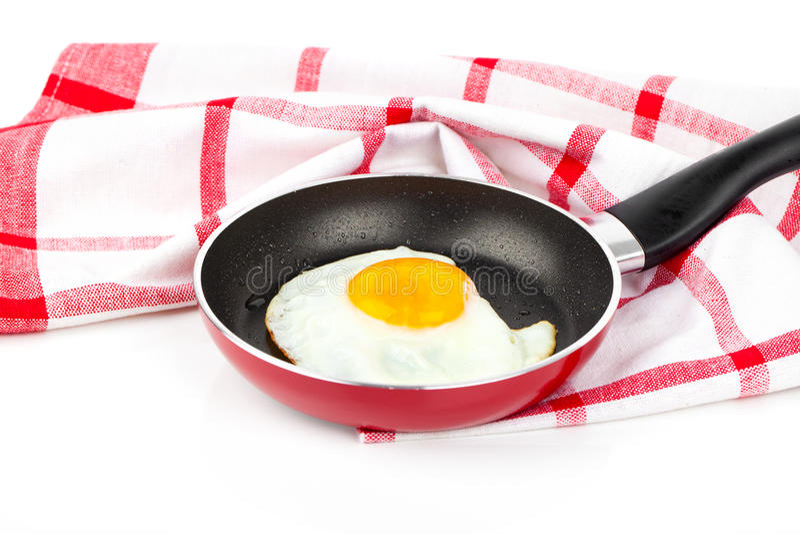 鸡蛋油煎的煎锅 库存图片